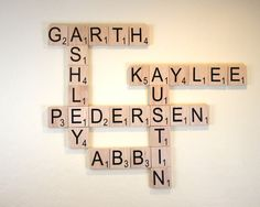 "Large Scrabble Tiles - 3.5"" Large Scrabble Letters  - Scrabble Wall Art - Personalized Wood Scrabble Letters - Giant Scrabble Letters - LST by SweetJeanShop on Etsy https://www.etsy.com/listing/181930037/large-scrabble-tiles-35-large-scrabble"
