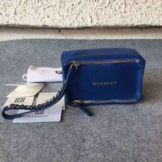 £139.00 A/W Givenchy 2016 Collection Outlet-Givenchy Small Pandora Wristlet Bag in Blue Leather
