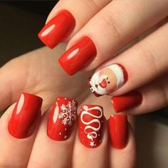 ADORABLE Christmas nail art idea for acrylic and gel nails. Ideas de unas!