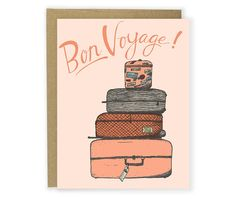 Bon Voyage Card with Luggage - Going Away Card, Good Bye Card, Leaving Card, See You Later Card, Travel Card, Trip, Moving Card, Illustrated