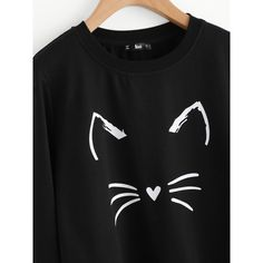 SheIn(sheinside) Cartoon Cat Print Sweatshirt (€11) ❤ liked on Polyvore featuring tops, hoodies, sweatshirts, polyester sweatshirt, cat pullover, stretchy long sleeve tops, pullover sweatshirts and long sleeve sweatshirt