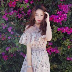 Xu Lin mini lotus leaf chiffon floral chic word shoulder dress female summer 2017 new sweet dress