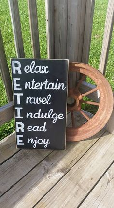 RETIRE - Relax Entertain Travel Indulge Read Enjoy - Wooden Hand Painted Sign - Distressed Retiremen Gift - Teacher - Retired Wood Sign - pinned by pin4etsy.com