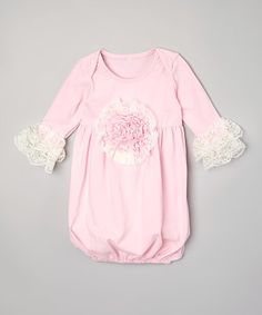 Look what I found on #zulily! Pink Rose Ruffle Sleeper - Infant #zulilyfinds
