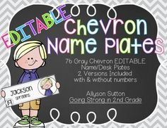 EDITABLE Gray Chevron Name Plates - 2 versions - with and without numbers - 76 Melonheadz Kidlettes to choose from!