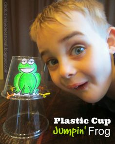 Relentlessly Fun, Deceptively Educational: Plastic Cup Jumpin' Frogs (Adapt this idea into Flying Dragons! Frog Crafts Preschool, Frog Activities, Frog Games, Preschool Science, Preschool Ideas, Kid Crafts, Science Inquiry, Summer Crafts, Summer Fun