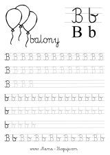 nauka pisania literek - szablon literka B