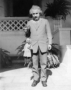 Albert Einstein with an Albert Einstein puppet.