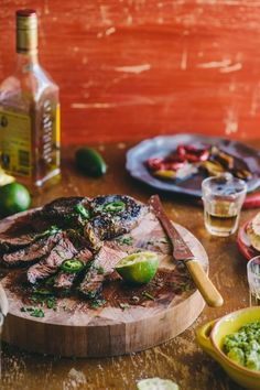 Tequila and Lime Marinated Steak-if you marinate the steak properly you could be speaking in tounges by the end of dinner! Great for the feast of Pentecost! LOL