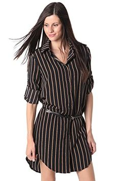 Q2 Womens Tencel stripe shirt dress  M  Black -- Find out more about the great product at the image link.