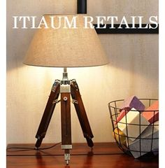 New Designer marine nautical tripod floor shade lamp. A beautiful hand crafted unique design tripod floor lamp. Hand Made Nautical tripod shade lamp. Tripod Table Lamp, Industrial Flooring, Custom Shades, Contemporary Table Lamps, Wooden Lamp, Fabric Shades, Decoration, The Help, Art
