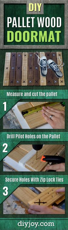 Watch The Simple Thing He Makes With Pallet Wood and Zip Ties (Clever!) DIY Pallet Wood Doormat – How To Make A Pallet Doormat – Easy Home Decor Ideas for Your Porch – Wood Pallet Projects and Cool Rustic Crafts Pallet Home Decor, Pallet House, Pallet Crafts, Wood Home Decor, Unique Home Decor, Home Decor Items, Diy Crafts, Decor Crafts, Room Decor