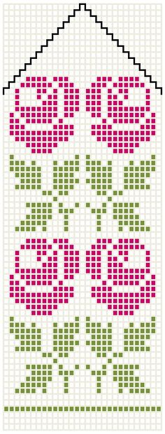 Rose design for mittens, presumably Mittens Pattern, Knit Mittens, Knitted Gloves, Loom Patterns, Embroidery Patterns, Cross Stitch Patterns, Knitting Charts, Hand Knitting, Knitting Patterns