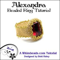 Alexandra Beaded Ring Tutorial by Whimbeads on Etsy, $8.00