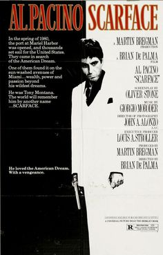 SCARFACE // Amer. crime film by Brian De Palma, 1983.