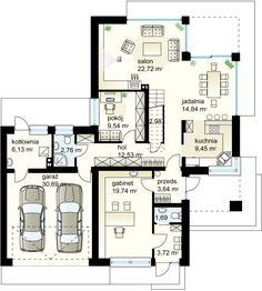Design of house with a garage for 2 cars. This is an energy saving building. Dream House Plans, My Dream Home, 2 Storey House, Double Garage, Christmas Decorations To Make, Clever Diy, Ground Floor, Save Energy, Facade