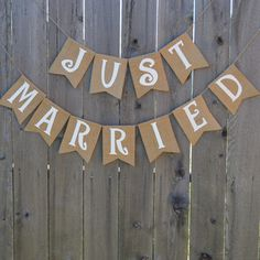 """Rustic burlap garland banner anounces """"Just Married"""". Perfect for your rustic wedding reception. Rustic Country Wedding Decorations, Rustic Wedding Reception, Wedding Wall, Casual Wedding, Wedding Reception Decorations, Fall Wedding, Wedding Ideas, Wedding Stuff, Dream Wedding"""