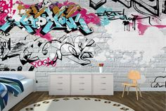 White Wall Graffiti Mural Wallpaper