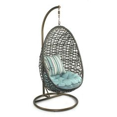 Bird's Nest Porch Swing with Stand - Chris Loves Julia on Joss and Main Hanging Swing Chair, Swinging Chair, Hanging Chairs, Swing Chairs, Swing Seat, Hammock Chair, Chair Cushions, Chair Pads, Outdoor Cushions