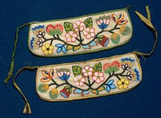 Ojibwe beaded cloth moccasin cuffs - found at then Minnesota Historical Society, mnhs.org
