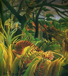 Henri Rousseau tiger in a tropical storm oil painting for sale; Select your favorite Henri Rousseau tiger in a tropical storm painting on canvas or frame at discount price. Henri Rousseau Paintings, Art Tigre, Oil On Canvas, Canvas Art, Jungle Scene, Tiger Art, Tiger Tiger, Post Impressionism, Naive Art