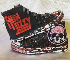 171f07729e81 Thin Lizzy Converse All Star shoes by Chad Cherry Clothing. Rocker shoes.  Custom Chuckies