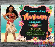 Moana Birthday Invitation Princess Moana Birthday Disney Moana