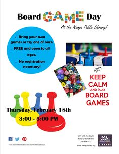 Family Board Game Day: Thurs, Feb 18, 2016,  3-5pm