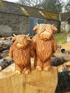 "Gary Shand Chainsaw Sculpture - Scottish Bouncers. Wee coo's, 15""&22""."