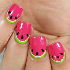 Do you love doing nail art? Are you looking for nail art summer ideas? This post is just what you need! Check out our collection of 'Watermelon Nail Art Designs for Summer below and tell us what you think Cute Summer Nail Designs, Cute Summer Nails, Cool Nail Designs, Cute Nails, Nail Designs For Kids, Fruit Nail Designs, Nail Summer, Beach Nail Designs, Awesome Designs