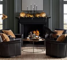 There is nothing more chic than basic black. This eclectic mix of pillar holders adds height and interest to a table or mantel display. Halloween Mantel, Halloween Home Decor, Fall Home Decor, Autumn Home, Chic Halloween, Halloween Ideas, Wall Mounted Candle Holders, Wood Candle Holders, Pumpkin Candles