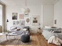 Decorating Tricks to Steal from Stylish Scandinavian Interiors; the crown molding!!! And the room is just plain pretty