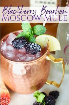This refreshing Blackberry Bourbon Moscow Mule is a fun twist on the classic mule. With fresh smashed blackberry's, good bourbon, fresh lime and ginger beer this cocktail is easy and beautiful. #thefreshcooky #cocktail #recipe #blackberries #moscowmule #mocktail