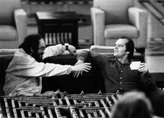 Director Stanley Kubrick and Jack Nicholson on the set of The Shining.