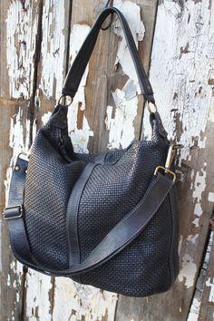 Black Handwoven Italian Leather Hobo Handbag
