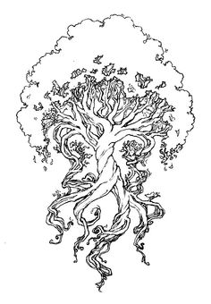 """The """"Yggdrasil"""" (or 'The Tree of Life' aka """"The Terrible One's Horse"""" in Norse Mythology.) I like the design of this, but I'd like to have it redrawn with three roots and nine branches (which would be the correct description.) Possibly going on the right pectoral muscle."""