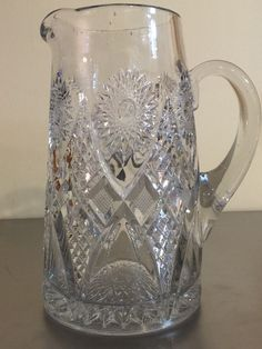 Vintage Cut Glass Crystal Pitcher  Hand Blown by PineStreetPickers