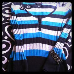 Ribbed Long Sleeve Shirt Ribbed long sleeve shirt by BCBG!! Teal/gray/black striped. This is so soft and comfy! BCBGMaxAzria Tops