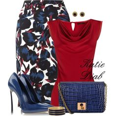 """Blue&Red Floral"" by katiediab on Polyvore"