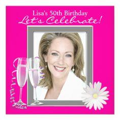 Womans Photo Hot Pink 50th Birthday Party Custom Invitation