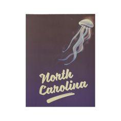 #North Carolina Jellyfish travel poster - #travel #art