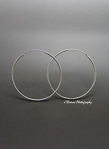 925-Sterling-Silver-Hoop-Sleeper-Earrings-6mm-50mm-Small-Large