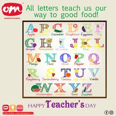 All letters of alphabets teach us our way to good food. Keep learning and exploring. Wishing all the teachers a very Happy Teacher's Day!!! #teachersday #teachersofinstagram #special #thankyou #omsweets Om Sweets, Exploring, Letters, Learning, Happy, Food, Studying, Essen, Letter