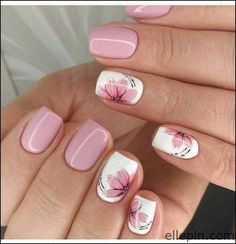 nail art designs for spring \ nail art ; nail art designs for winter ; nail art designs for spring ; Flower Nail Designs, Fall Nail Art Designs, Pink Nail Designs, Short Nail Designs, Nail Polish Designs, Cool Nail Designs, Nails Design, Nails With Flower Design, Rose Nail Design