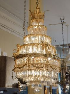 Antique French Baccarat Crystal Waterfall Chandelier - CRICKETS - Antique French Baccarat Crystal Waterfall Chandelier View this item and discover similar for sale at - Exceptional work from the Belle Epoque - French Chandelier, Empire Chandelier, Luxury Chandelier, Antique Chandelier, Antique Lamps, Chandelier Pendant Lights, Modern Chandelier, Chandelier Ideas, Luxury Lighting