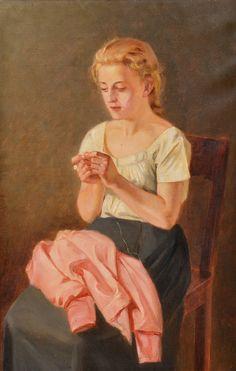 "ARVID LILJELUND, ""A SEWING GIRL""....réépinglé par Maurie Daboux ♬♩♬"