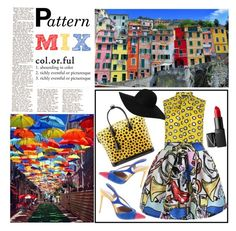 """""""Colorful town"""" by bettysilver ❤ liked on Polyvore featuring Boutique Moschino, Aquazzura, Louis Vuitton, Monki, NARS Cosmetics, colorful and patternmix"""