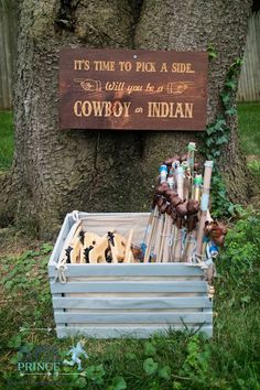 Wooden Sign + Toy Weapons from a Rustic Cowboys & Indians Birthday Party via Kara's Party Ideas | KarasPartyIdeas.com (12)