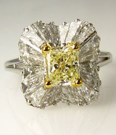 Super Fine..Vintage 6.01ct Natural  Fancy Light Yellow Radiant Diamond Ballerina Ring, EGL USA certified, PLATINUM ... GORGEOUS