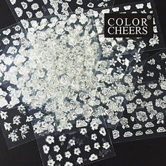 QINF 24PCS Mix Silver Flower White Background Sticker Nail Art Nail Decorations * Click on the image for additional details.
